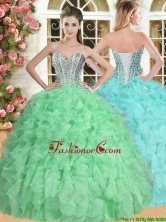 Elegant Spring Green Quinceanera Dress with Beading and Ruffles for Spring YSQD007FOR