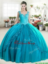 Elegant Straps Beaded and Applique Quinceanera Dress in Turquoise YYPJ058-1FOR