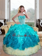 Exclusive Sweetheart Multi Color 2015 Quinceanera Gown with Appliques and Ruffles QDDTB5002FOR