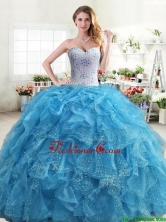 Exquisite Beaded and Ruffled Quinceanera Dress in Aqua Blue YYPJ031-1FOR