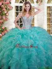 Exquisite Ruffled and Beaded Aqua Blue Quinceanera Dress in Organza YSQD003-3FOR