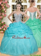 Gorgeous Beaded and Pick Ups Quinceanera Dress in Aqua Blue YSQD006FOR