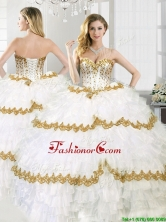Gorgeous Beaded and Ruffled Layers Sweet 16 Dress in White YYPJ042FOR
