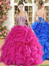 Gorgeous Strapless Beaded and Ruffled Quinceanera Dress in Hot Pink QDDTA122002FOR