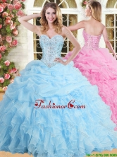 Inexpensive Applique and Ruffled Sweet 16 Dress in Baby Blue YSQD002FOR