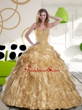Inexpensive Beading and Ruffles Sweetheart 2015 Champagne Quinceanera Gown QDDTC24002-2FOR