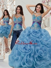 Lovely Appliques and Rolling Flowers Quinceanera Dresses in Multi Color SJQDDT20001FOR