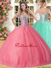 Lovely Beaded Coral Red Sweet 16 Dress in Tulle for Spring YSQD005-3FOR