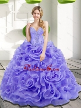 Lovely Beading and Rolling Flowers Quinceanera Dresses in Lavender SJQDDT17002-1FOR