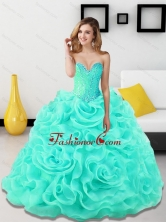 Lovely Beading and Rolling Flowers Sweetheart Light Blue Quinceanera Dresses for 2015 SJQDDT18002-5FOR