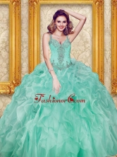 Lovely Beading and Ruffles Apple Green Quinceanera Dresses SJQDDT30002FOR