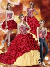 Lovely Embroidery Wine Red and Yellow Quinceanera Dresses SJQDDT31001FOR