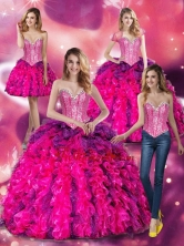 Lovely Multi Color Quinceanera Dresses with Beading and Ruffles SJQDDT24001FOR