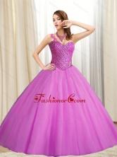 Lovely Sweetheart Beading Tulle Fuchsia 2015 Quinceanera Dresses SJQDDT12002-2FOR