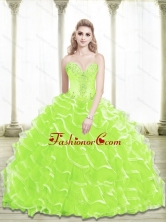 Lovely Sweetheart Beading and Ruffled Layers Quinceanera Dresses in Lime Green SJQDDT25002-4FOR