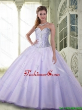 Luxurious Beaded Sweetheart Quinceanera Dresses in Lavender for 2015 Fall SJQDDT73002FOR
