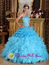Luxurious One Shoulder Aque Blue Ruffles One Shoulder Quinceanera Dresses With Beaded Decorate Bust For 2013 Graduation In Yaritagua Venezuela Style QDZY254FOR