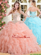 Modest Big Puffy Peach Quinceanera Dress with Appliques and Ruffles YSQD001FOR