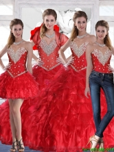 New Style 2015 Summer Sweetheart Quinceanera Dress with Ruffles and Beading in Red SJQDDT78001FOR