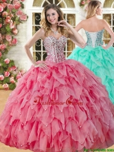 Perfect Big Puffy Coral Red Quinceanera Dress with Beading and Ruffles YSQD008FOR