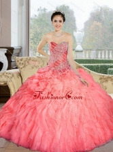 Pretty 2015 Beading and Ruffles Sweetheart Quinceanera Dresses in Watermelon QDDTC42002FOR