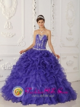 Purple Wholesale Rufflers and Appliques Decorate Bodice For 2013 Quinceanera Dress In El Tigre Venezuela Style QDZY252FOR