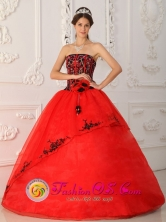 Red Wholesale Quinceanera Dress Strapless Brand New Style Satin and Organza Ball Gown For 2013 Fall In Carora Venezuela Style QDZY288FOR