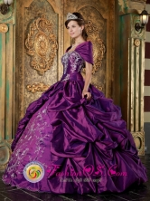 Short Sleeves and Embroidery For 2013 Quinceanera Dress With Wholesale Purple Pick-ups In El Pauji Venezuela Style QDZY258FOR