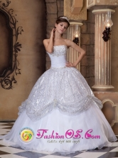 Stunning Customized Wholesale Sequin Strapless With the Super Hot White Quinceanera Dress In San Miguel Venezuela Style QDZY070FOR