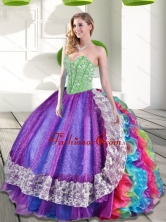 Sweetheart Beading and Ruffles 2015 Lovely Quinceanera Dresses in Multi Color QDDTA63002-2FOR