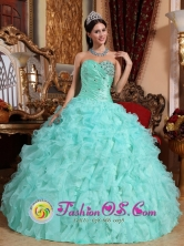 Sweetheart Wholesale Organza Beaded and Ruffles Apple Green Quinceanera Dress for Military Ball In Sarare Venezuela Style QDZY663FOR
