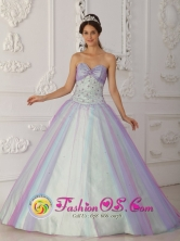 Tacna Peru Multi Color 2013 wholesale Quinceranera Dress Beading and Sequins Decorate For New Style Sweetheart Tulle A Line Style QDZY112FOR