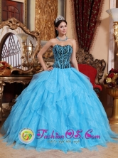 Tarma Peru Aqua Blue wholesale Quinceanera Dress with Ruffles Sweetheart Neckline Embroidery with Beading for Sweet 16 Style QDZY015FOR
