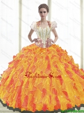 Top Seller 2015 Summer Ball Gown Sweetheart Quinceanera Dresses with Ruffles SJQDDT38002FOR