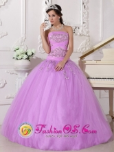 Tulle  Wholesale Lavender Beaded Strapless Ball Gown for 2013 Quinceanera In San Tome Venezuela Style QDZY667FOR