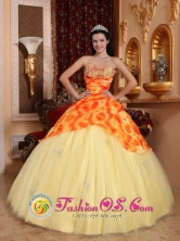 Tumbes Peru Customer Made Light Yellow Beaded Decorate wholesale Quinceanera Dress With Sweetheart Neckline On Tulle Style QDZY729FOR