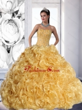 Unique Strapless Gold 2015 Quinceanera Dress with Beading and Rolling Flowers QDDTD8002FOR