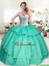 Wonderful Beaded and Ruffled Layers Sweet 16 Dress in Apple Green for Spring YYPJ032-2FOR