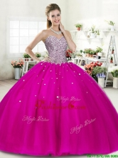 Wonderful Fuchsia Big Puffy Quinceanera Dress with Beading for Spring YYPJ044-1FOR