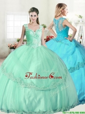Wonderful Straps Apple Green Quinceanera Dress with Beading and Appliques YYPJ043FOR