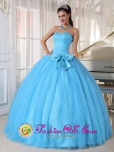 2013 Guadalajara de Buga   Colombia Wholesale Aqua Blue Tulle Ball Gown Quinceanera Dress Sweetheart with Beading and Bowknot Ruched Bodice  Style PDZY642FOR