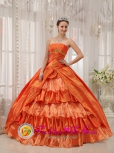 2013 Pamplona Colombia Wholesale Orange Red Ruffles Layered Quinceanera Dresses With Appliques and Ruch  Style QDZY272FOR
