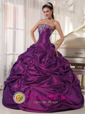 2013 Santa Rosa de Cabal  Eggplant Purple Wholesale Quinceanera Dress with Strapless Embroidery Formal Style Taffeta Ball Gown Style PDZY681FOR