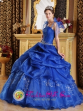 2013 Santa Rosa de Osos Colombia Wholesale  The Super Hot Customer Made Spaghetti Straps Blue Quinceanera Dress Style QDZY287FOR
