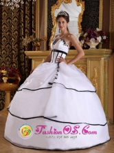 2013Salgar Colombia  Wholesale White Organza Modest Quinceanera Dress With Appliques Floor-length Lace-up   Style QDZY291FOR