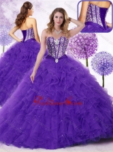 2015 Simple Sweetheart Quinceanera Gowns with Beading and Ruffles SJQDDT451002FOR