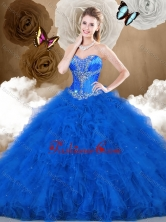 2016 Simple Ball Gown Sweetheart Beading and Ruffles Quinceanera Dresses SJQDDT474002FOR