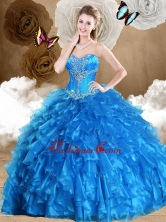 2016 Simple Ball Gown Sweetheart Quinceanera Dresses with Beading and Ruffles SJQDDT470002FOR