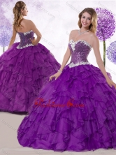 2016 Simple Ball Gown Sweetheart Quinceanera Gowns with Ruffles and Sequins SJQDDT455002FOR