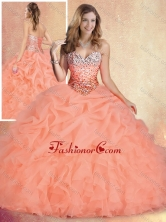 2016 Simple Brush Train Sweet 16 Gowns with Ruffles and Bubles SJQDDT439002FOR